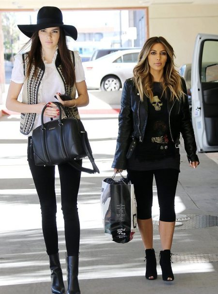 Kendall-Jenner-Style-StyleChi-Best-Looks-Black-Hat-Embellished-Gilet-Skinny-Jeans-Poined-Leather-Boots-Kim-Kardashian-Childrens-Hospital