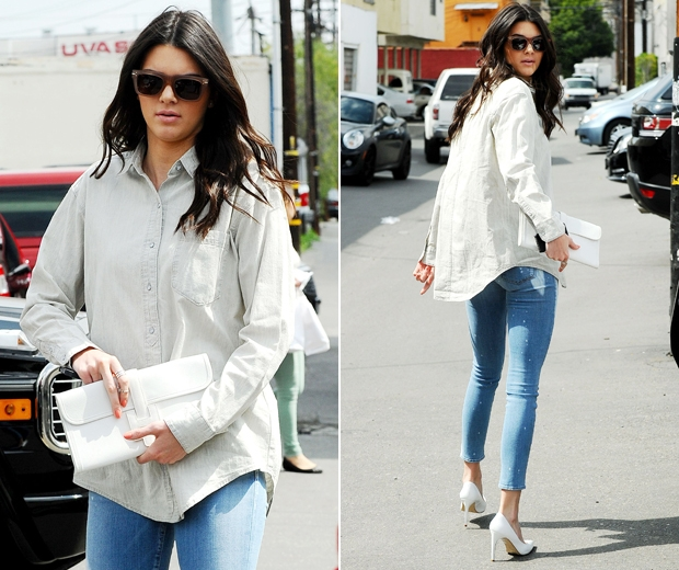 Kendall-Jenner-Style-StyleChi-Best-Looks-Brown-Retro-Sunglasses-Oversized-Boyfriend-Shirt-Light-Blue-Cropped-Skinny-Jeans-White-Pointed-Heels