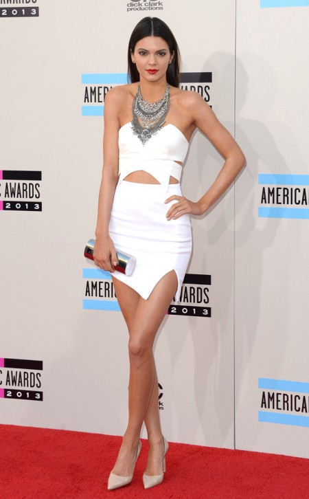 Kendall-Jenner-Style-StyleChi-Best-Looks-White-Bustier-Strapless-Cut-Out-Crop-Top-Structured-Skirt-Statement-Bib-Silver-Necklace-Nude-Pointed-Heels-Red-Lip