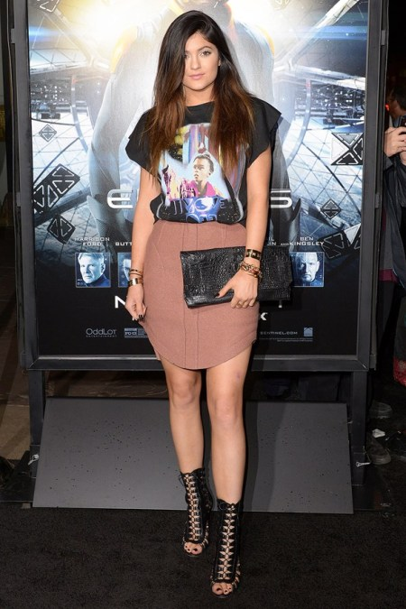 Kylie-Jenner-Best-Outfits-StyleChi-2013-Vintage-T-Shirt-Rose-Skirt-Black-Clutch-Lace-Up-Peep-Toe-Shoes-Boots