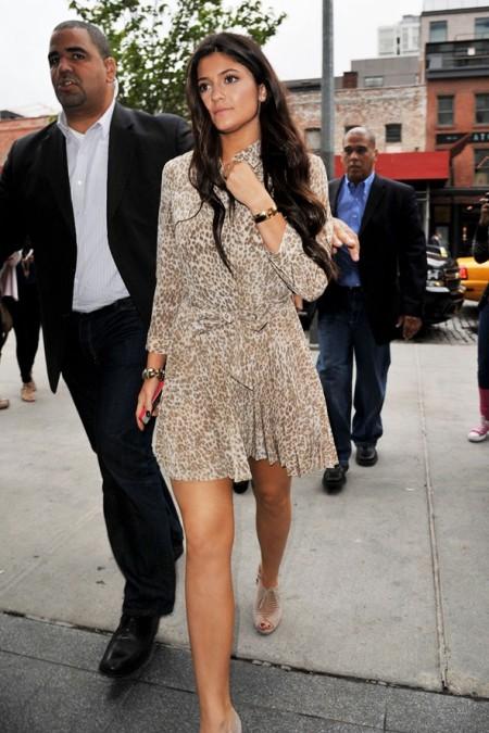 Kylie-Jenner-Best-Outfits-StyleChi-Animal-Print-Cream-Beige-Shirt-Dress