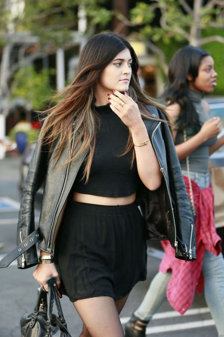Kylie-Jenner-Best-Outfits-StyleChi-Black-Turtle-Neck-Crop-Top-High-Waist-Skater-Skirt-Leather-Jacket