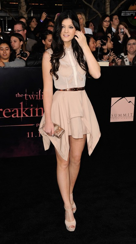 Kylie-Jenner-Best-Outfits-StyleChi-Cream-Gold-Belt-Breaking-Dawn-Premiere-Nude-Asymmetric-Skirt