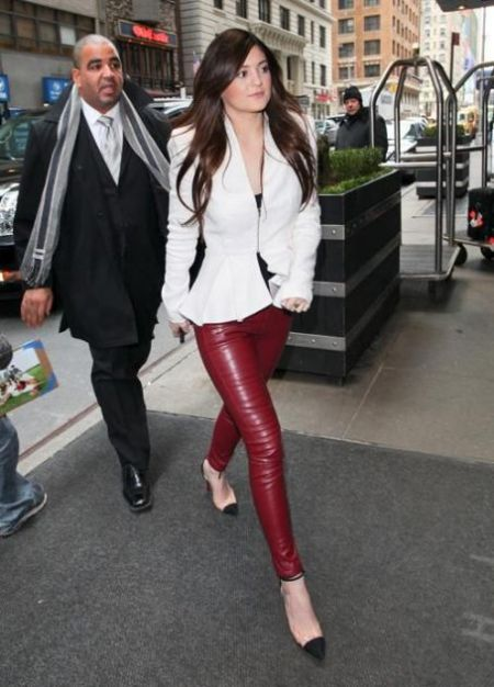 Kylie-Jenner-StyleChi-Best-Outfits-Red-Leather-Skinny-Trousers-White-Peplum-Jacket-Nude-Heels-Black-Toe-Cap