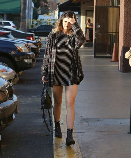 Kylie-Jenner-StyleChi-Best-Outfits-Style-Plaid-Boyfriend-Shirt=Striped-Top-Chealsea-Boots