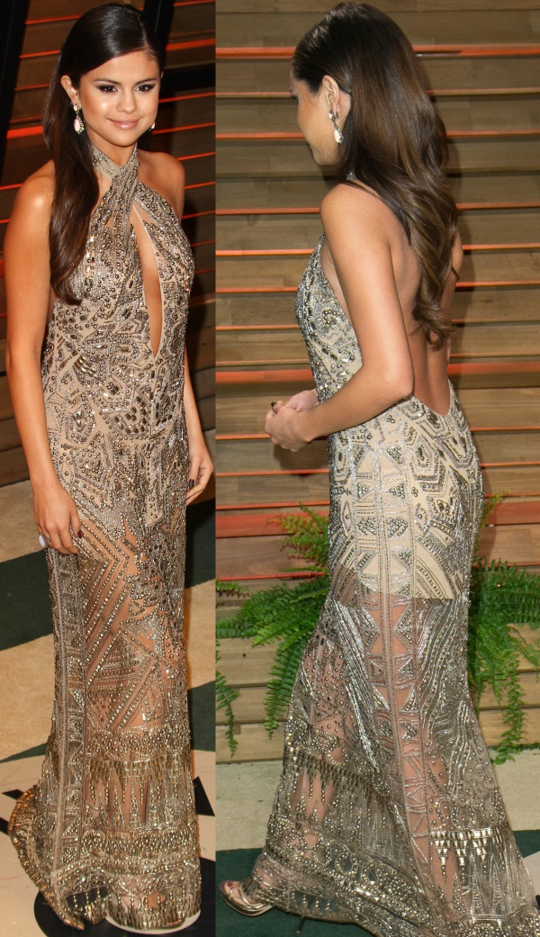 Selena-Gomez-Style-Red-Carpet-StyleChi-2014-Vanity-Fair-Oscar-Party-Cross-Front-Gold-Silver-Sheer-Embellished-Beaded-Dress