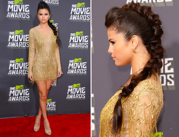 Selena-Gomez-Style-Red-Carpet-StyleChi-MTV-Movie-Awards-Gold-V-Neck-Long-Sleeve-Gold-Embellished-Mini-Dress-Large-Plait-Peep-Toes