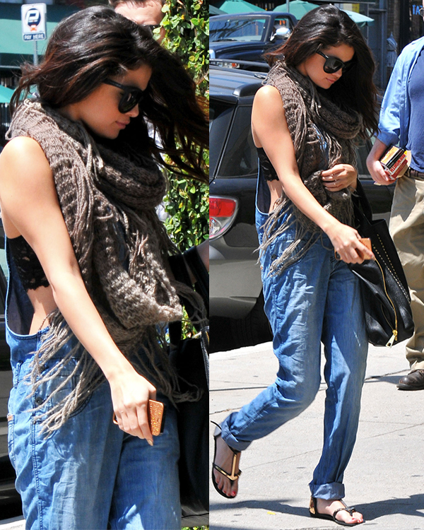 Selena-Gomez-Style-Street-Casual-StyleChi-2013-Taupe-Wool-Scarf-Denim-Overalls-Lace-Bralette-Sunglasses-Flat-Sandals
