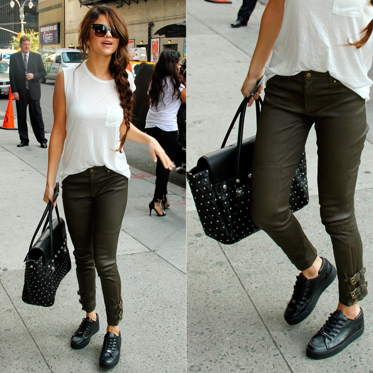 Selena-Gomez-Style-Street-Casual-StyleChi-Khaki-Ankle-Grazer-Leather-Trousers-Black-Trainers-White-Sleeveless-Pocket-Top-Studded-Bag-Sunglasses-Hoop-Earrings