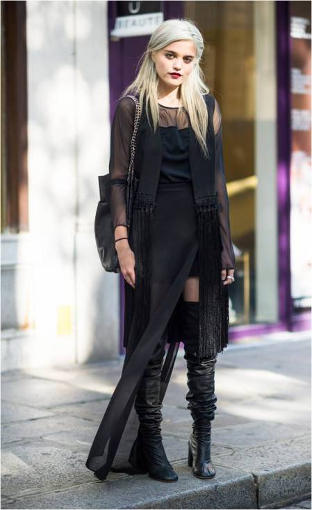 Sky-Ferreira-StyleChi-Style-Best-Outfits-Blonde-2013-Black-Sheer-Layers-Dress-Over-The-Knee-Boots