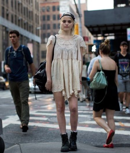 Sky-Ferreira-StyleChi-Style-Best-Outfits-Blonde-Cream-Lace-Crochet-Dress-Cap-Boots