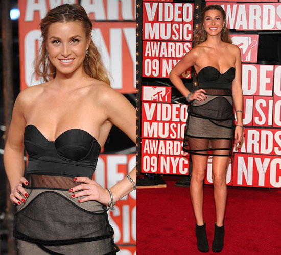 Whitney-Port-Style-Best-Outfits-StyleChi-2009-VMA-Bustier-Black-Dress-Sheer-Overlay-Suede-Ankle-Boots