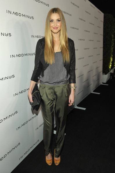 Whitney-Port-Style-Best-Outfits-StyleChi-Black-Cropped-Jacket-Grey-Slouch-Top-Khaki-Satin-Look-Trousers-Orange-Studded-Heels-Clutch
