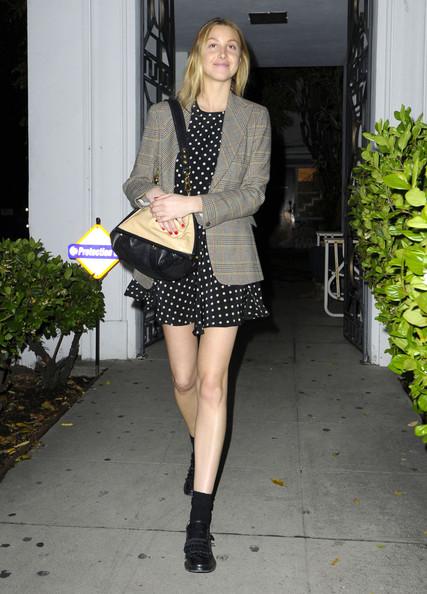 Whitney-Port-Style-Best-Outfits-StyleChi-Black-Leather-Loafers-Socks-Polka-Dot-Dress-Checked-Blazer
