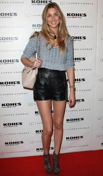 Whitney-Port-Style-Best-Outfits-StyleChi-Black-Leather-Shorts-Leopard-Boots-Cream-Quilted-Chain-Bag-Blue-Crop-Top