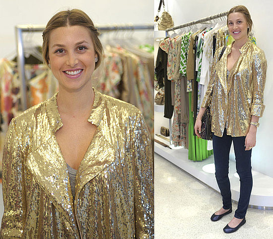 Whitney-Port-Style-Best-Outfits-StyleChi-Gold-Sequin-Blazer-Skinny-Jeans-Ballerina-Flats