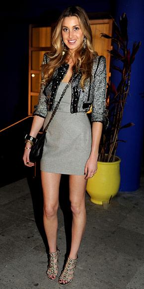 Whitney-Port-Style-Best-Outfits-StyleChi-Grey-Dress-Gladiator-Studded-Heels-Cropped-Grey-Jacket-Cross-Body-Chain-Bag