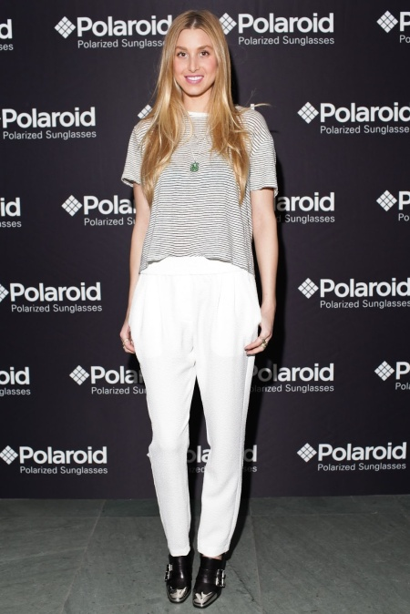 Whitney-Port-Style-Best-Outfits-StyleChi-MoMa-Striped-T-Shirt-White-Trousers-Buckled-Metal-Toe-Cap-Black-Leather-Shoes