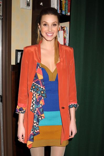 Whitney-Port-Style-Best-Outfits-StyleChi-Orange-Waterfall-Blazer-Patterned-Lining-Colour-Block-Blue-Brown-Orange-Bandage-Dress