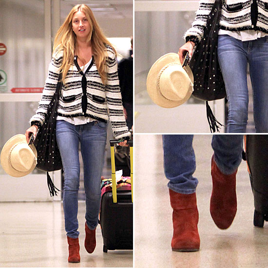 Whitney-Port-Style-Best-Outfits-StyleChi-White-Black-Knitted-Striped-Cardigan-Denim-Jeans-Brick-Suede-Ankle-Boots-Straw-Hat-Studded-Black-Bag