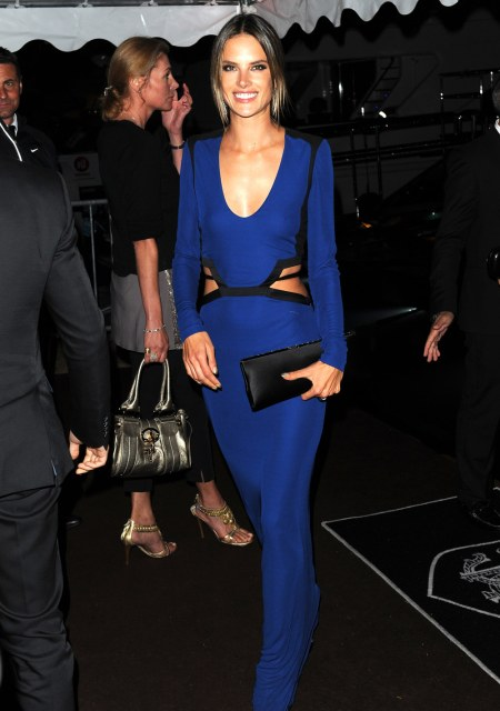 Alessandra-Ambrosio-Best-Outfits-Style-StyleChi-Cannes-Festival-2013-Deep-V-Neck-Cut-Out-Black-Trim-Blue-Gown