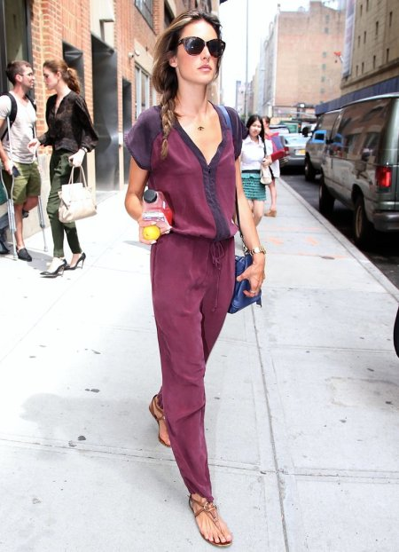 Alessandra-Ambrosio-Best-Outfits-Style-StyleChi-Colourblock-Gypsie-Jumpsuit-Blue-Purple-Brown-Sandals-Sunglasses-Blue-Bag