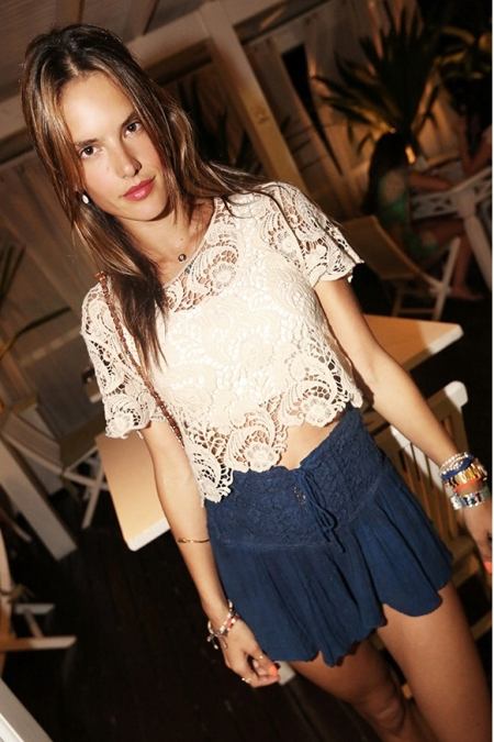 Alessandra-Ambrosio-Best-Outfits-Style-StyleChi-Cream-Crochet-Crop-Top-Navy-Blue-Lace-Detail-Skort