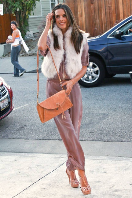 Alessandra Ambrosio Best Outfits Style StyleChi Cream Fur Gilet Pink Jumpsuit Brown Handbag Platform Strappy Heels