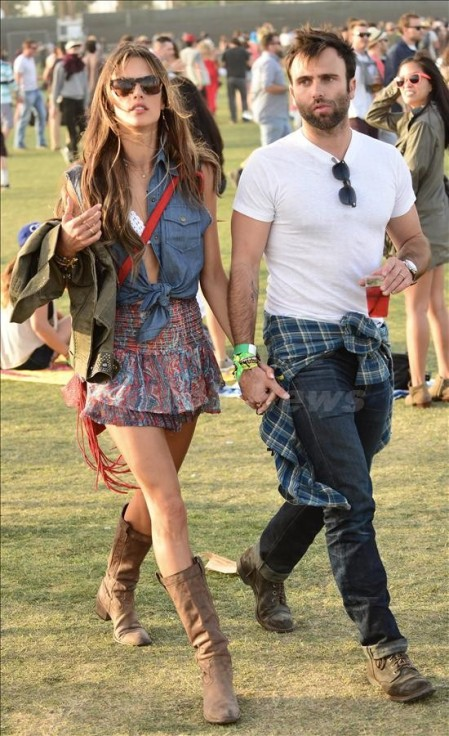 Alessandra Ambrosio and her partner Jamie Mazur head to see some bands at Coachella