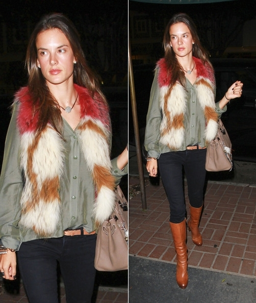Alessandra-Ambrosio-Best-Outfits-Style-StyleChi-Fur-Gilet-Khaki-Shirt-Black-Skinny-Jeans-Brown-Boots-Taupe-Bag