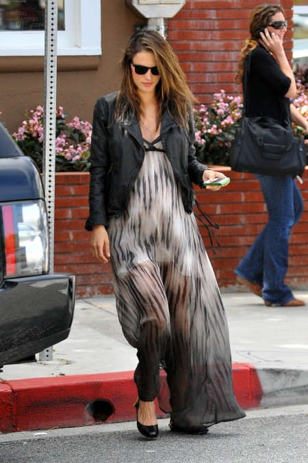 Alessandra-Ambrosio-Best-Outfits-Style-StyleChi-Leather-Jacket-Sunglasses-Maxi-Dress-Sheer-Effect
