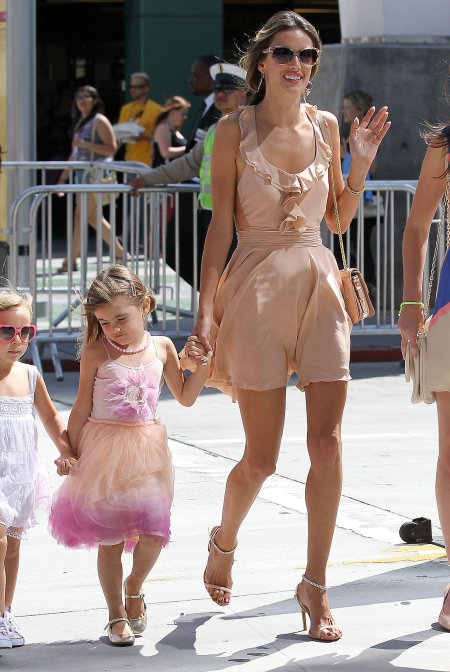 Alessandra-Ambrosio-Best-Outfits-Style-StyleChi-Nude-Mini-Dress