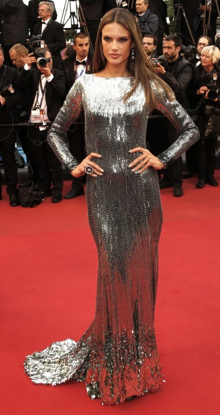 Alessandra-Ambrosio-Best-Outfits-Style-StyleChi-Red-Carpet-Long-Sleeve-Mirror-Sequin-Silver-Gown
