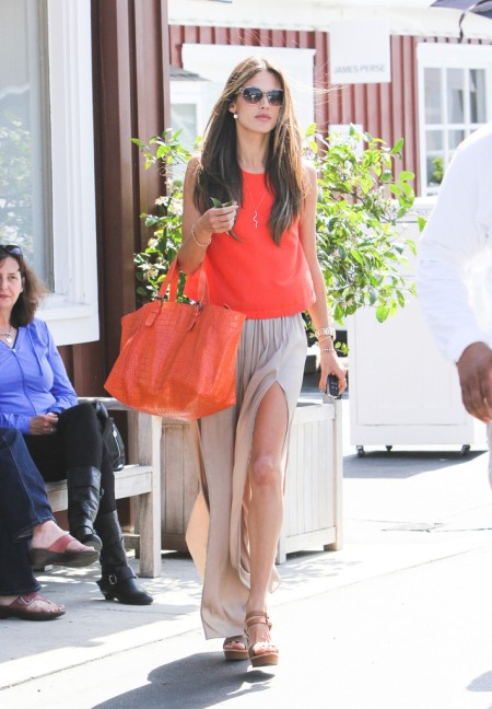 Alessandra-Ambrosio-Best-Outfits-Style-StyleChi-Red-Orange-Top-Bag-Beige-Split-Maxi-Skirt