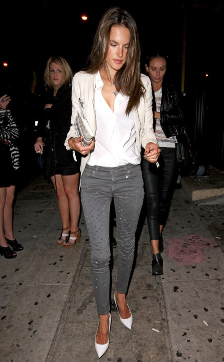 Alessandra-Ambrosio-Best-Outfits-Style-StyleChi-Studded-Grey-Jeans-White-Top-Blazer-Pointed-Heels