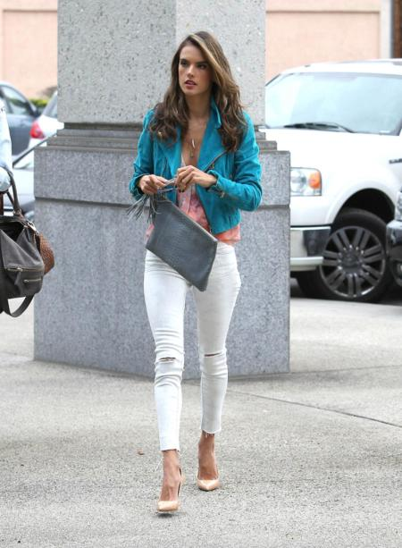Alessandra-Ambrosio-Best-Outfits-Style-StyleChi-White-Ankle-Grazer-Jeans-Ripped-Knee-Blue-Jacket-Coral-Top-Nude-Heels-Grey-Clutch