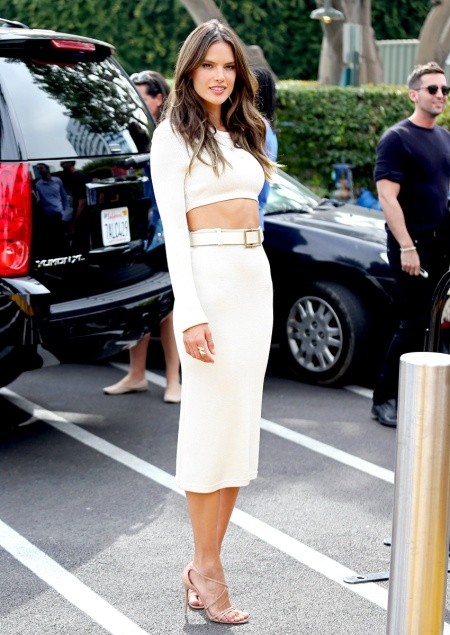 Alessandra Ambrosio Best Outfits Style StyleChi White Twosie Set Crop Top Pencil Skirt Nude Strappy Heels