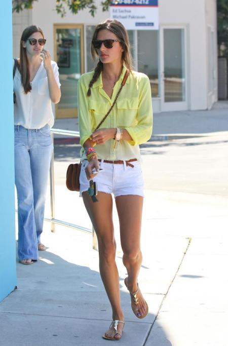Alessandra-Ambrosio-Best-Outfits-Style-StyleChi-Yellow-Gradient-Shirt-White-Cut-Off-Shorts-Brown-Belt-Sandals-Sunglasses
