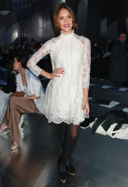 Jessica-Alba-2014-Paris-Fashion-Week-Style-StyleChi-Best-Outfits-White-Lace-High-Neck-Victorian-Style-Dress-Black-T-Bar-Platform-Heels