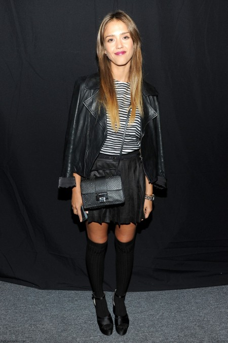 Jessica-Alba-Casual-Style-StyleChi-Best-Outfits-Black-Leather-Jacket-Striped-White-Top-Pleated-Mini-Skirt-Knee-High-Socks-Peep-Toe-Platform-Sandals-Cross-Body-Bag