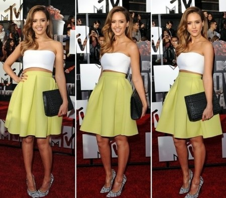 Jessica-Alba-Red-Carpet-Style-StyleChi-Best-Outfits-2014-MTV-Award-White-Bandeau-Bralette-Top-Lime-High-Waisted-Puff-Out-Skirt