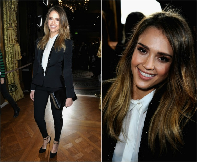 Jessica-Alba-Red-Carpet-Style-StyleChi-Best-Outfits-Black-Suit-Skinny-Trousers-White-Shirt-Heeled-Mary-Janes-Oversized-Clutch