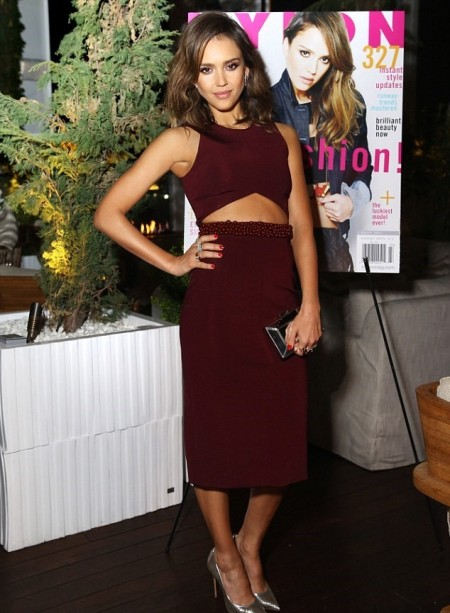 Jessica-Alba-Red-Carpet-Style-StyleChi-Best-Outfits-Burgundy-Sleeveless-Crop-Top-Beaded-High-Waist-Pencil-Skirt-Silver-Heels-Clutch