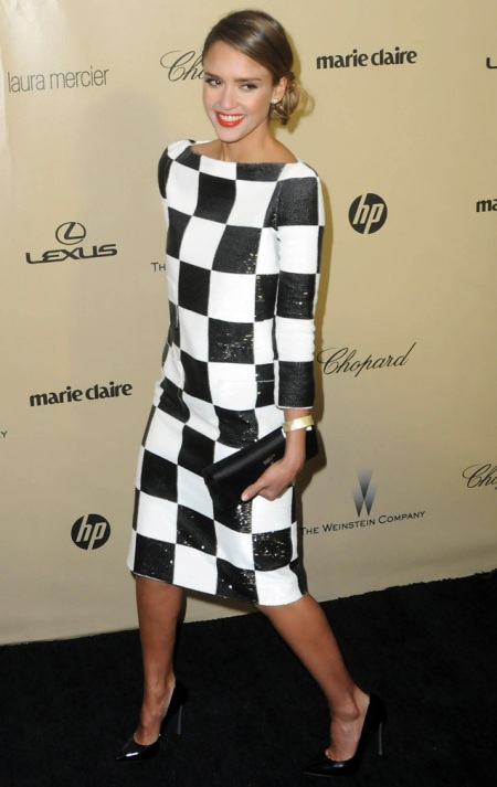 Jessica-Alba-Red-Carpet-Style-StyleChi-Best-Outfits-Checkered-Black-White-Long-Sleeve-Midi-Dress-Pointed-Heels