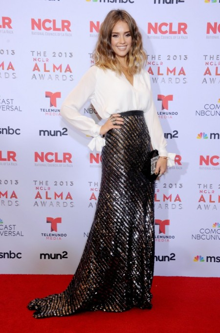 Jessica-Alba-Red-Carpet-Style-StyleChi-Best-Outfits-White-Blouse-Shirt-High-Waist-Maxi-Black-Silver-Bronze-Sparkly-Skirt