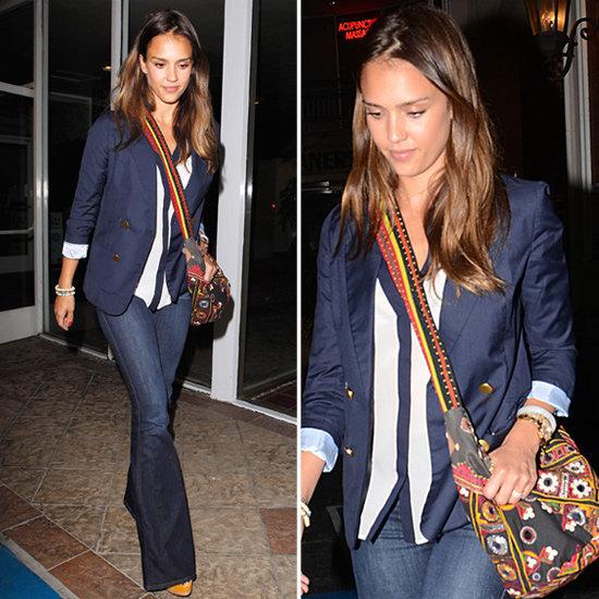 Jessica-Alba-Street-Style-StyleChi-Best-Outfits-2012-Navy-Blazer-White-Blouse-Drak-Denim-Flares-Ethnic-Style-Bag