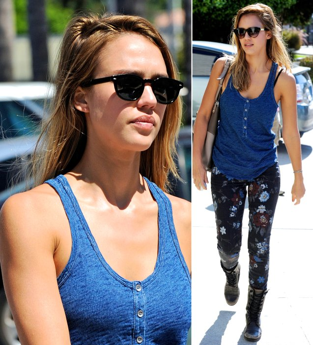 Jessica-Alba-Street-Style-StyleChi-Best-Outfits-Blue-Vest-Top-Floral-Jeans-Black-Lace-Up-Boots-Sunglasses