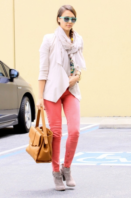 Jessica-Alba-Street-Style-StyleChi-Best-Outfits-Coral-Skinny-Jeans-Cream-Blazer-Tan-Bag-Turquoise-Frame-Sunglasses-Braided-Hair