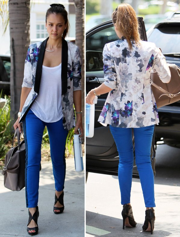 Jessica-Alba-Street-Style-StyleChi-Best-Outfits-Floral-Blue-White-Black-Jacket-Cobalt-Skinny-Jeans-White-Top-Peep-Toe-Heels