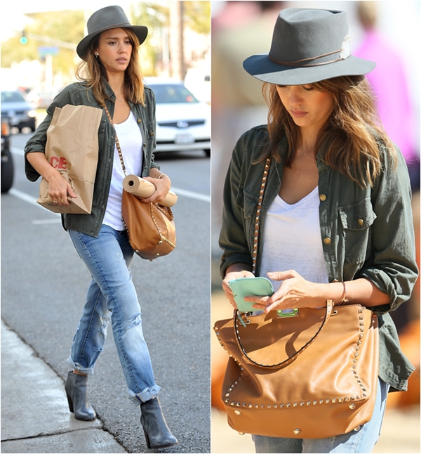 Jessica-Alba-Street-Style-StyleChi-Best-Outfits-Khaki-Current-Elliott-Jacket-Navy-Hat-White-Top-Studded-Tan-Bag-Ripped-Boyfriend-Jeans-Grey-Ankle-Boots